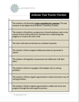 Performance Task Checklist