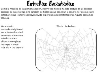 Authentic Reading for Spanish Halloween