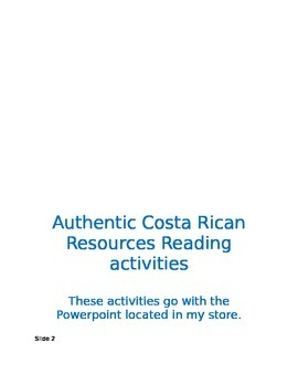 Authentic Readings from Costa Rica activities