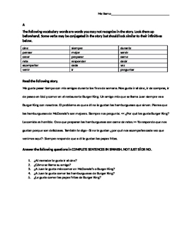 Authentic Text Gustar Reading and Hi/Mid/Lo Level Questions