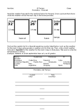 Authentic Weather Reading and Writing Worksheet for Spanish (EDITABLE)