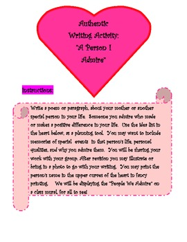 "Authentic Writing Activity- ""A Person I Admire"""