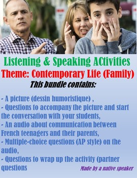 French francais audio + questions Contemporary life Family Teenagers AP