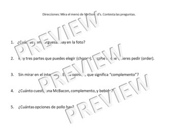 Authentic resource Spanish class- Comida BUNDLE