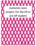Authentic Text projects for the Upper Level or AP Spanish Student