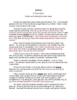 Author A True Story - Questioning