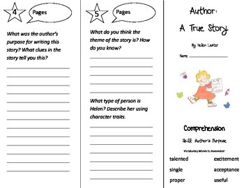 Author A True Story Trifold - Treasures 3rd Grade Unit 3 Week 1 (2011)