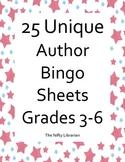 Author Bingo!  25 Unique Bingo Cards featuring Popular Authors 3rd-6th Grades