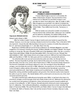 Author Bio Handout: Frances Hodgson Burnett