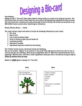 Author Biography Card - Fun Activity for Any Book