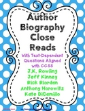 Author Biography Close Reads with Text-Dependent Questions - #1