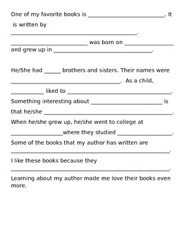 Author Biography Organizer/Writing Template