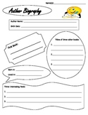 Author Biography Research Organizer Guide Sheet with Citations Bibliography