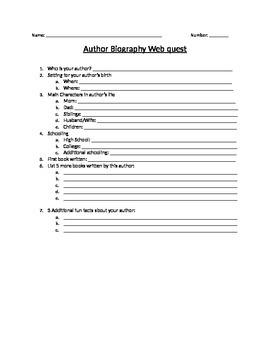 Author Biography Web Quest