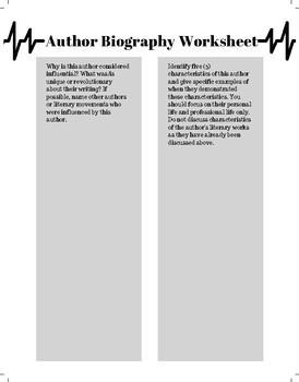 Author Biography Worksheet
