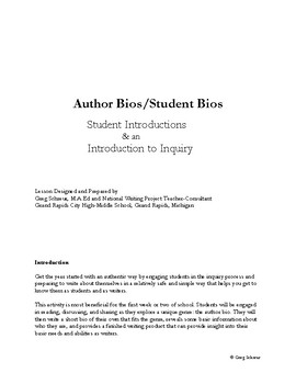 Author Bios/Student Bios: Student Introductions & an Introduction to Inquiry