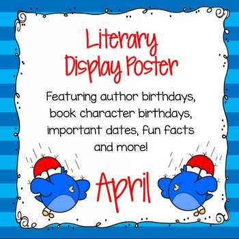 Author Birthday, Literary Events and Special Days Display Poster - April