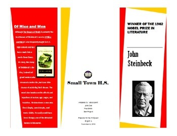 Author Brochure Example John Steinbeck