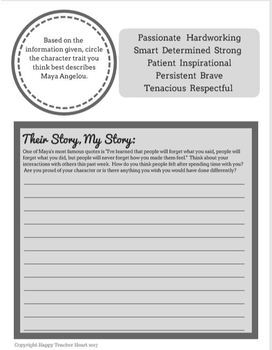 "Author Growth Mindset Activity Worksheets---""Their Story, My Story"""