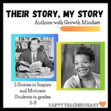 "Author Growth Mindset Worksheets---""Their Story, My Story"""