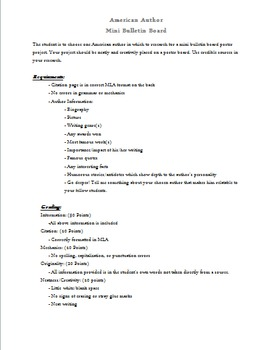Author Mini Bulletin Board Research Project FREE