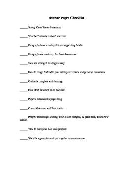 Author Paper - Essay Checklist