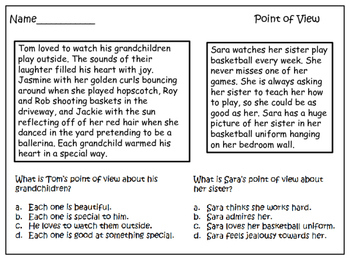 Author's Point of View Practice Printables