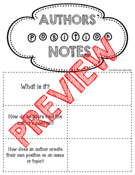 Author Position/ Viewpoint Graphic Organizer