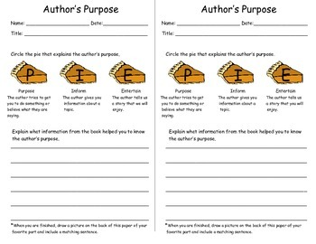 Author' Purpose Resonse Sheet
