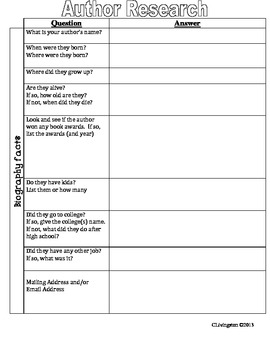 Author Research Worksheet