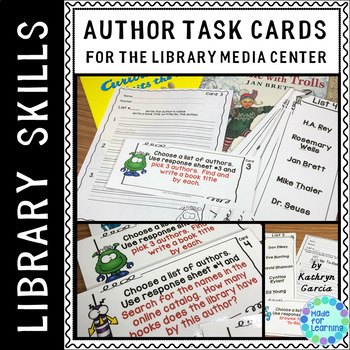 Library Skills: Author Search Task Cards in the School Library Media Center