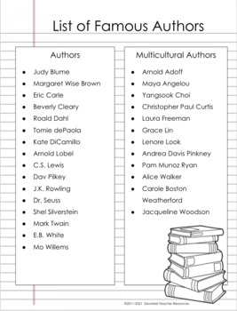 Famous Author Research Project (A Comprehensive Author Biography Packet)