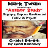 Mark Twain Author Study, Biography, Reading Response Activ