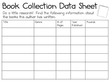 Author Study Activity Pack...for use with ANY Author!