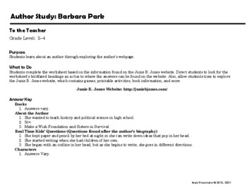 Author Study ~ Internet Research ~  Barbara Park