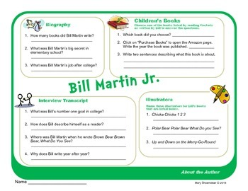Author Study ~ Internet Research ~ Bill Martin Jr.