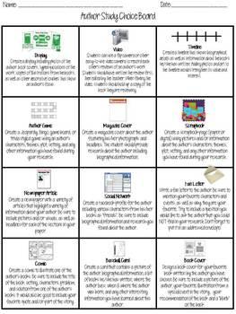 Author Study Choice Board