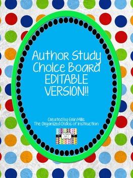 Author Study Choice Board-EDITABLE VERSION!!