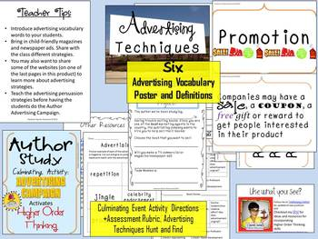 Author Study Culminating Event: Advertising Campaign {Higher Order Thinking}