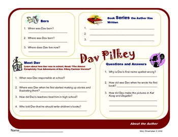 Author Study ~ Internet Research ~ Dav Pilkey