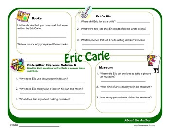 Author Study ~ Internet Research ~ Eric Carle