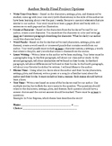 Author Study Final Project Choice with Rubric