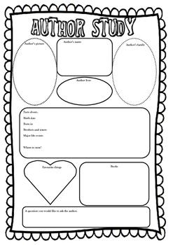 Author Study Graphic Organiser Set.
