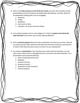 Author Study - Individual Book Report