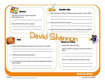 Author Study ~ Internet Research ~  David Shannon