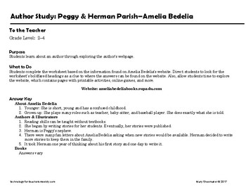 Author Study ~ Internet Research ~  Peggy Parish-Amelia Bedelia Series