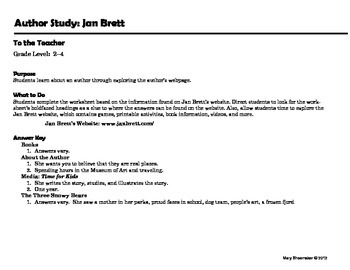 Author Study ~ Internet Research ~ Jan Brett