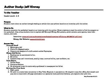 Author Study ~ Internet Research ~ Jeff Kinney