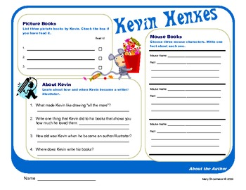 Author Study ~ Internet Research ~ Kevin Henkes