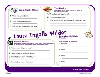 Author Study ~ Internet Research ~ Laura Ingalls Wilder